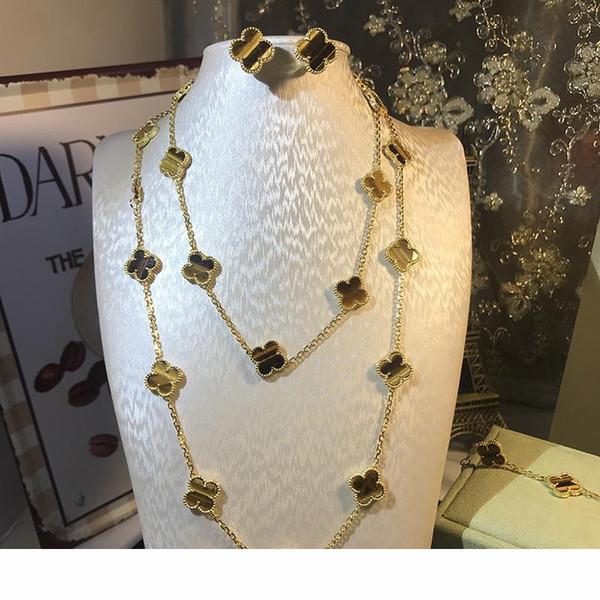 Марка 925 серебра четыре листа цветок комплект ювелирных изделий для женщин свадьба ожерелье браслет серьги коричневый тигр глаз клевер мать оболочки CZ ювелирные изделия