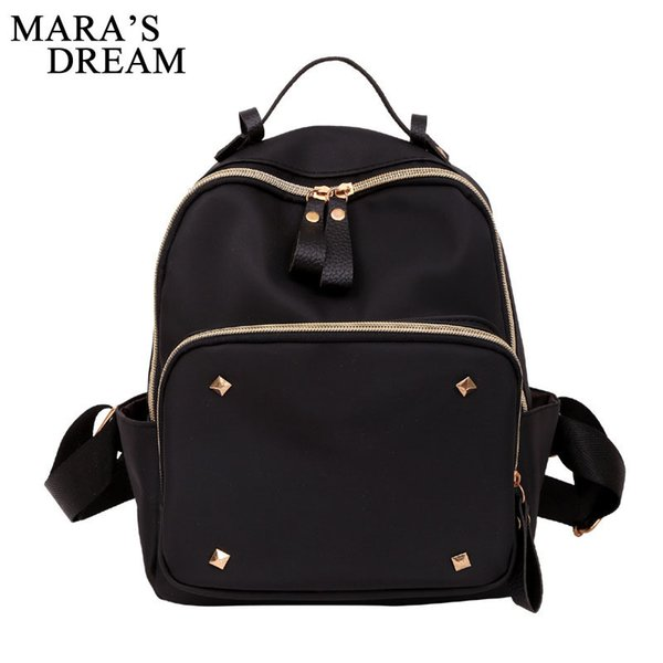 good quality New 2019 Backpacks Women Preppy Style Nylon Shoulder Bag Student Bag Black Rivet Backpack Mochilas Escolar Feminina