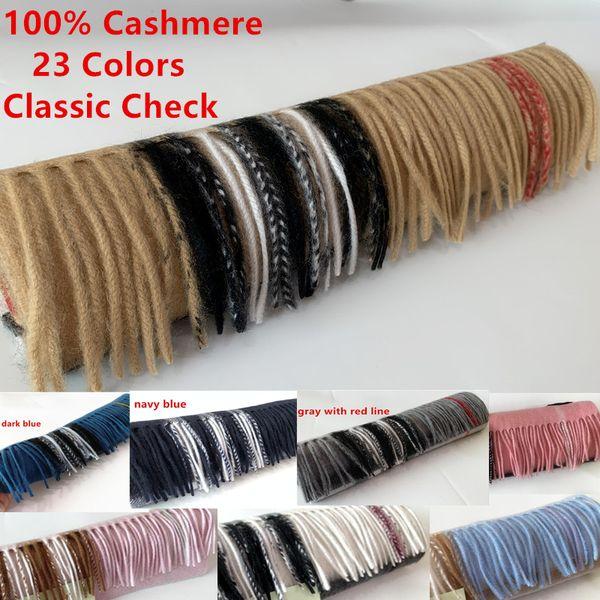 top popular 2019 Unisex Fashion Winter Designer 100% Cashmere Scarf Women and Men Brand Luxury Big Size Classic Check Scarves Pashmina Infinity Scarfs 2020