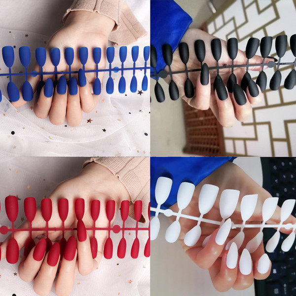 best selling Tamax NA074 24pcs matte false Nails Matte Colored dull fake Nail Tips For nail Extension Manicure nail art accessory kit