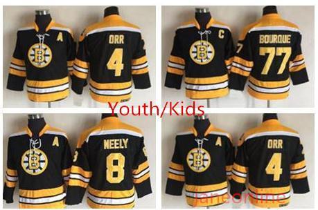 Retro Jugend Boston Bruins Hockey Jersey 8 Cam Neely 4 Bobby Orr 77 Ray Bourque Jungen Kinder Vintage CCM Schwarz Jerseys Throwback Kinder Jersey