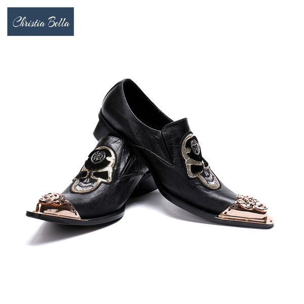 Venta al por mayor Gold Toe Men Dress Shoes Skull Fashion Plus Size Mens Handmade Oxfords Men 's Flats Party y zapatos de boda