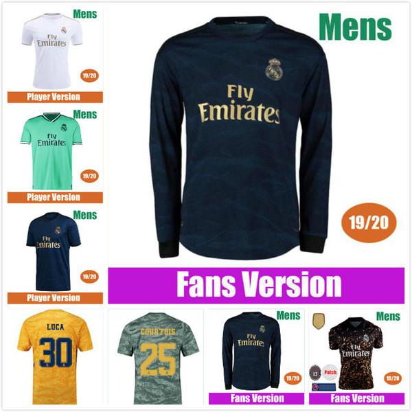 Jersey 2019 maniche lunghe 2020 PERICOLO casa Kroos ISCO Modric calcio uniforme uomo adulto camicia portiere di calcio 19 20 Real Madrid di calcio
