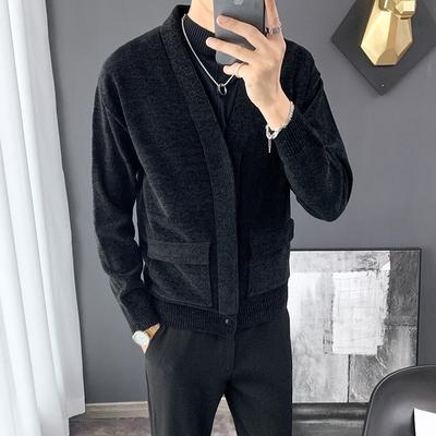 2019 Autumn High Quality Men's Knitted Plush Handsome Joker Top Cardigan Jacket Business Casual Fashion Jacket