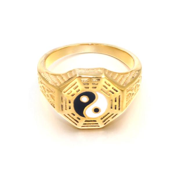 Golden Titanium Ring for Men Seal Script Curse Ring Eight Taoist God Mantra protective Ring Retro Men's Prayer Religious Jewelry