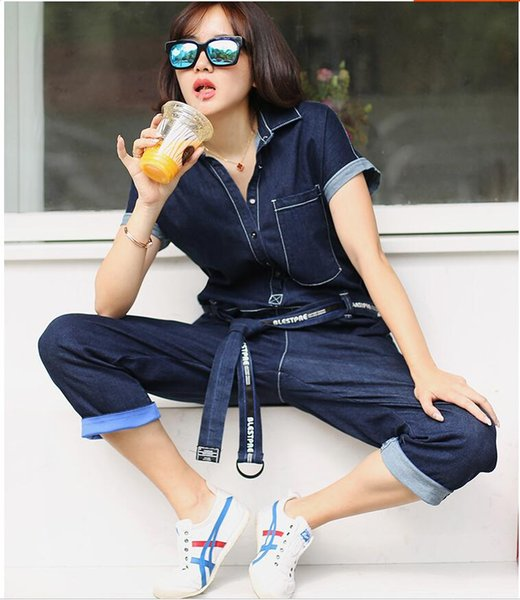 High quality luxury denim jumpsuit female summer 2019 new short-sleeved Korean tooling high waist loose jumpsuit suit wide leg pants tide