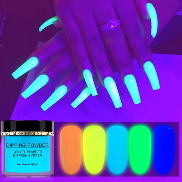 best selling NA055 Nail art Noctilucent powder 10ML green yellow Ultrafine Light in the Dark Pigment Fluorescent nail art dipping powder