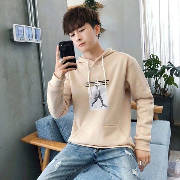 2019 hoodie men's long-sleeved t-shirt early autumn new style trend loose-fit boy's t-shirt base shirt autumn on clothes fashion thumbnail