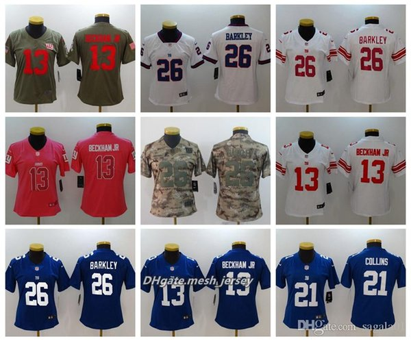 best loved d398e 4412b 2019 Women New York Giants American Football Jersey 26 Saquon Barkley 21  Landon Collins 13 Odell Beckham Jr Color Rush Stitching Jerseys From  Shen792, ...