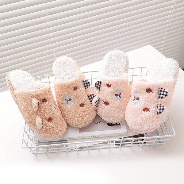 DreamShining New Vogue Women Cute Pig Home Floor Soft Stripe Slippers Female Comfortable Cotton-padded Warm Slippers Shoes