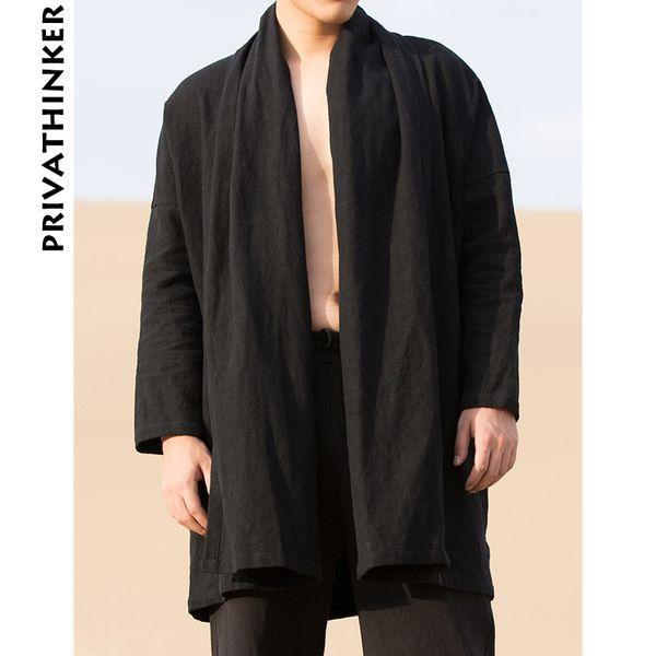 Sinicism Store Mens Trench Coat Casaco Homens Sólidos Preto Kimono Cardigan Masculino Harjuku Outono Longo Casaco Roupas 2018 Plus Size T2190606