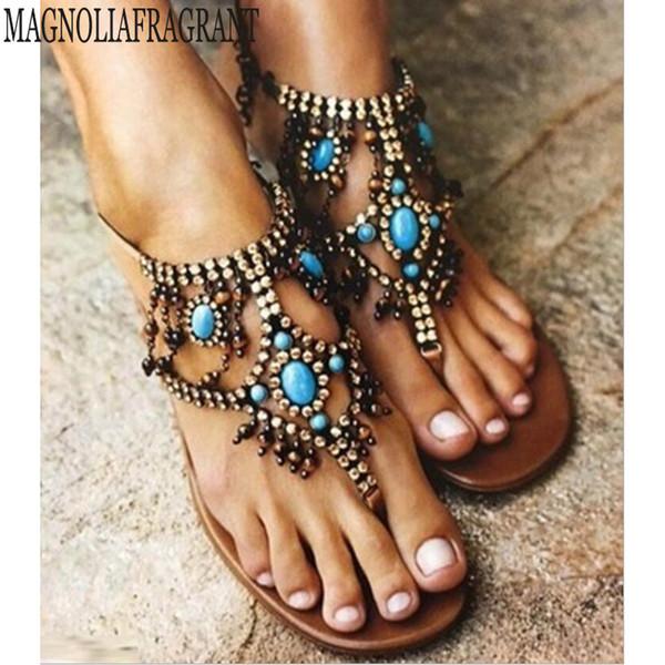 Sandalias mujer mujer Bohemia sandalias planas zapatos mujer String Bead flip flop sandalias de playa zapatos casuales verano chaussures femme