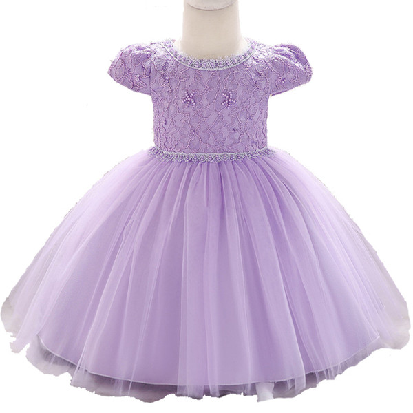 Baby Girl Party Pearl Lace Princess Dress Infant Purple Flower Embroidery Wedding Formal Dress Kids Tulle Birthday Clothes Bw161 Y19061001