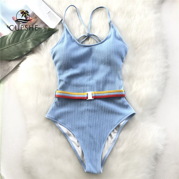 Cupshe Blue One-piece Swimsuit Women Cut Out Soild Monokinis With Single Waistband New Girl Beach Bathing Suit Swimwear Q190518