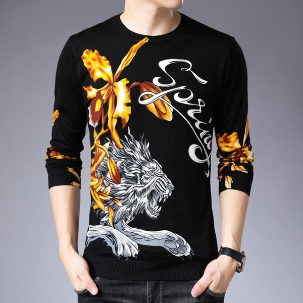 Sweater O-neckn Pull Homme Black White Animal Print Men Sweater And Pullover Mens Trend New Slim Long Sleeve Maglione Natale