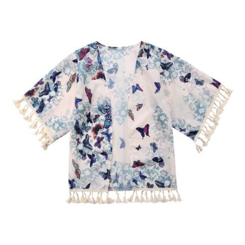Cool Design Kids Baby Girl Cover-Ups Tassel Beach Dress Butterfly Print Bathing Clothes Long Sleeve Toddler Cover-Ups Hot Sale
