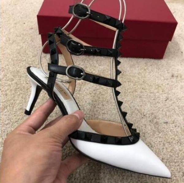 V marka yüksek topuk sandalet kadın ayakkabı hakiki deri yüksek topuk perçinler ile düğün ayakkabı 6 cm 8 cm 10 cm ince ...