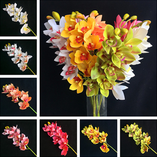 "Fake Short Stem Latex Cymbidium (10 heads/piece) 29.92"" Length Simulation Real Touch Orchid for Home Decorative Artificial Flowers"