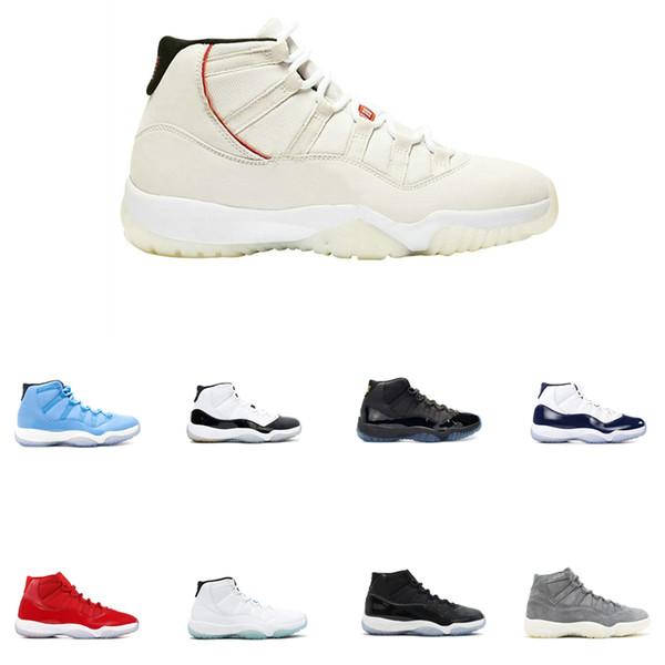 New Concord High 45 11 11s XI zapatos de los hombres del vestido de Cap PRM heredera de gimnasio rojo Chicago Platinum Tint Space Jam zapatillas de baloncesto de los hombres calzado deportivo