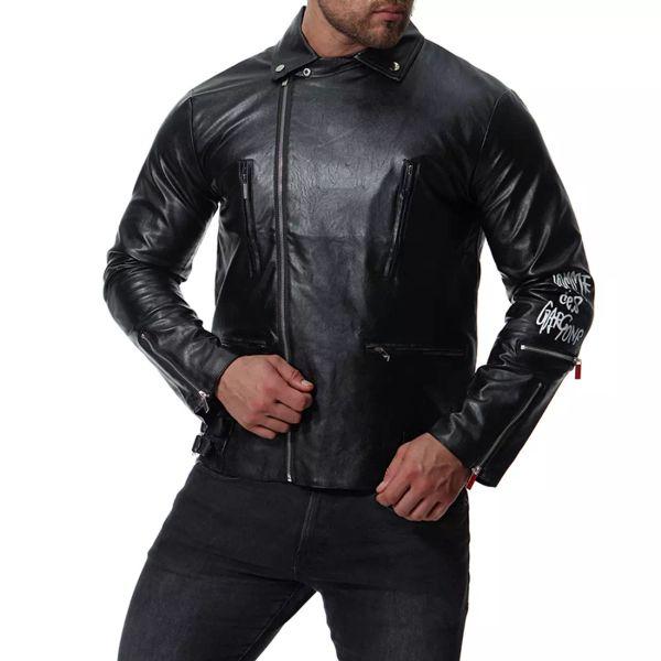 European code 2019 men's locomotive multi-zip printed leather European and American style leather jacket XB034 5xl