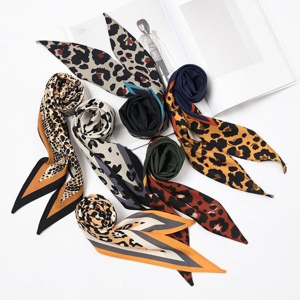 new Fashion Elegant Women Silk Scarf Diamond shaped leopard print decorative small scarf Retro Hair Tie Band Scarf 24 colors