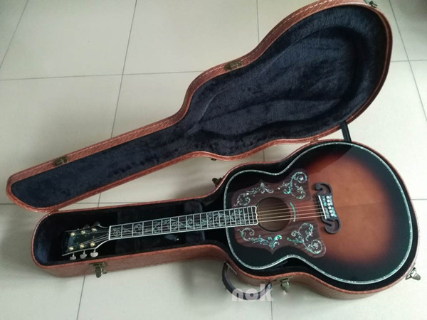 top popular Custom Deluxe Vintage sunburst color 43 inch acoustic electric guitar,Customize logo free of charge 2020