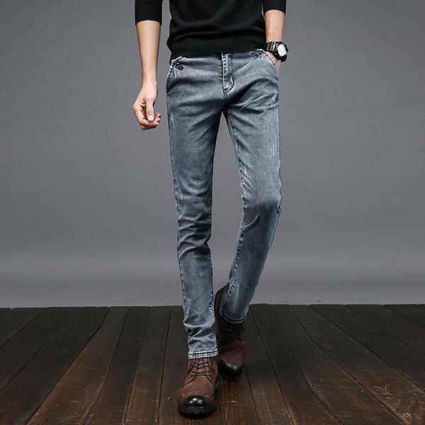 Erkekler Elastik Casual Düz Jeans 2019 Yeni Orta Kovboy Pantolon Sıska Mavi Erkekler Marka Jeans Stretch Sıcak Erkek Pantolon