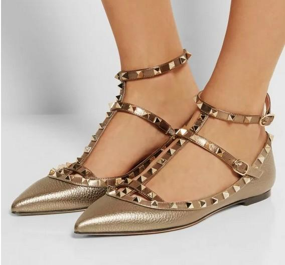tailor made* high quality! u564 34/40 genuine leather gold rivets pointy flats heels v pumps 7.5/10cm luxury designer metallic shoes 3A 04