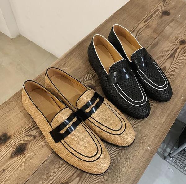 Мужчины Лето Weave Плоские мокасины Из Натуральной Кожи Дышащие Туфли-Слипоны Мужчины Homecoming Вечеринка Свадьба Пром Sapato Социальные Masculino обувь