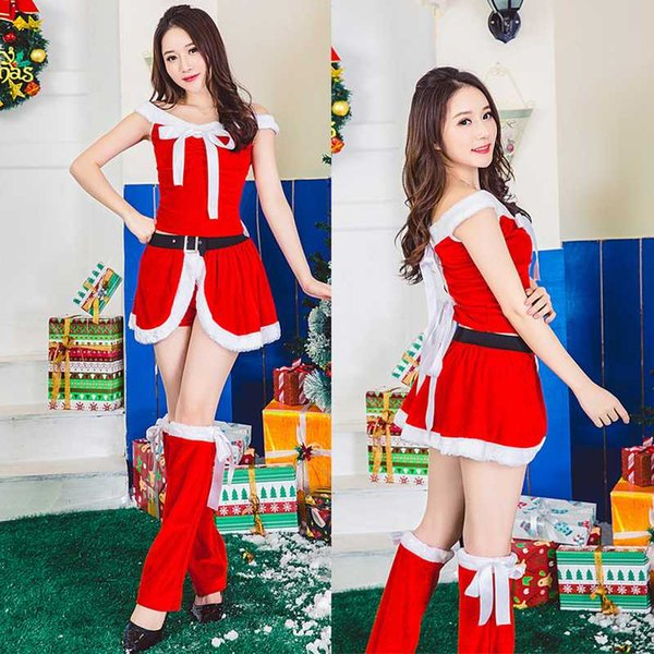 Women Christmas Costume Christmas Dress Red Velvet Fur Dresses Sexy Female Santa Claus Costume Clothes
