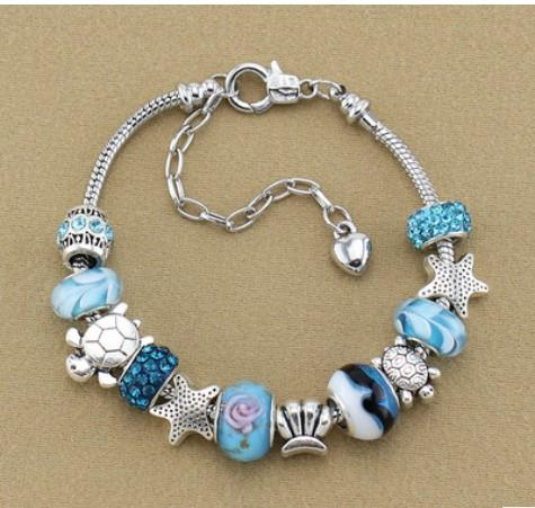 925 Sterling Silver Murano Glass European Charm Beads Adjustable Pendant Fit PandoraSnake Chain Charm bracelets Style Bracelet Jewelry DIY