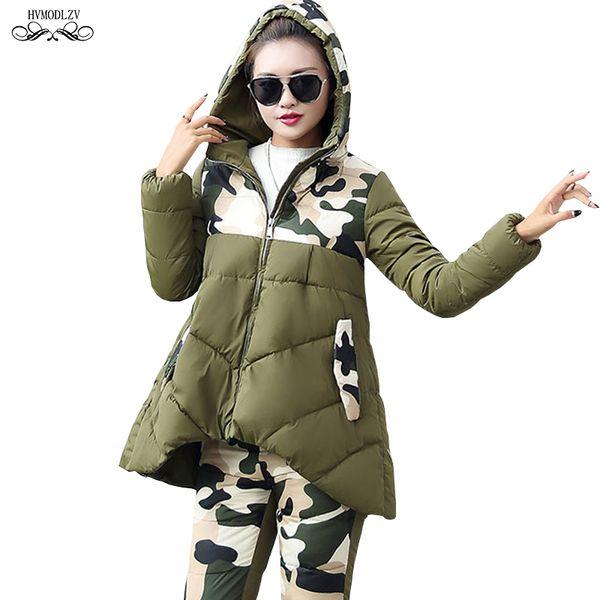 2 Piece Set Women Winter Hooded Splice Camouflage Jacket 2019 Spring Cotton Coat Elastic Pants Two Sets Female Clothing HJ208