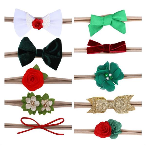 Europeu e americano conjunto de 10 peças / conjunto de headwear bebê das crianças do arco das asas mão costurada flores bebê cabelo faixa de cabelo accessorie