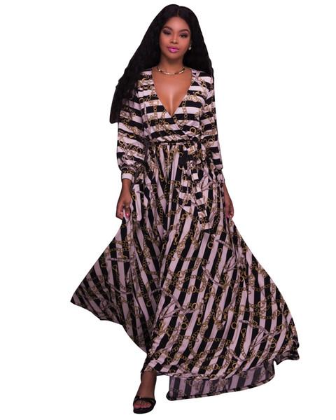 Luxury Women Long Formal Dress Spring Deep V Sexy Fashion Chains Designer Long Sleeved Dresses