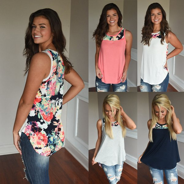best selling Floral Patchwork Sleeveless Vest Women Summer Back Floral Printed Casual Tops Loose Round Collar T-Shirt new OOA6301