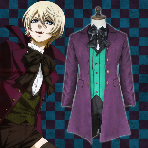 Anime Unisex Black Butler Cosplay Costume Alois Trancy Halloween Cloak Jacket Pants Uniform Full Set ( Asian Size )