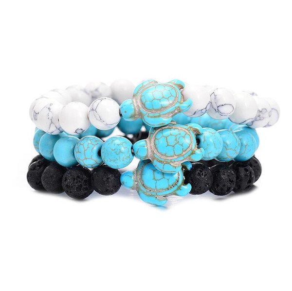 best selling Summer Style Sea Turtle Beads Bracelets Classic 8MM Turquoise Natural Stone Elastic Friendship Bracelet Beach For Women Men Jewelry