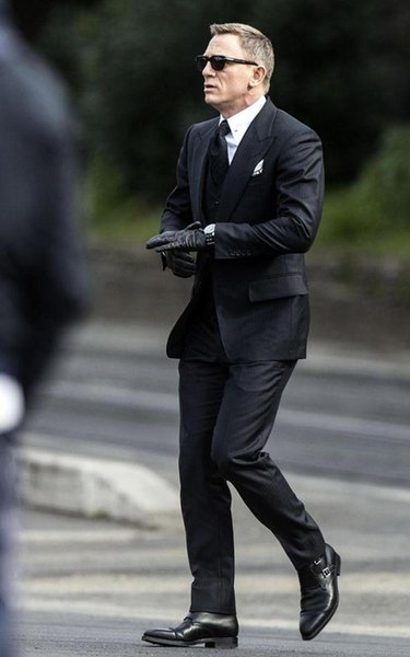 Erkekler Blazer İşletme Siyah Son Coat Pant Tasarımlar Düğün Suit Yaka resmi takım elbise 2 adet ceket + Pantolon Peaked DEMO6607