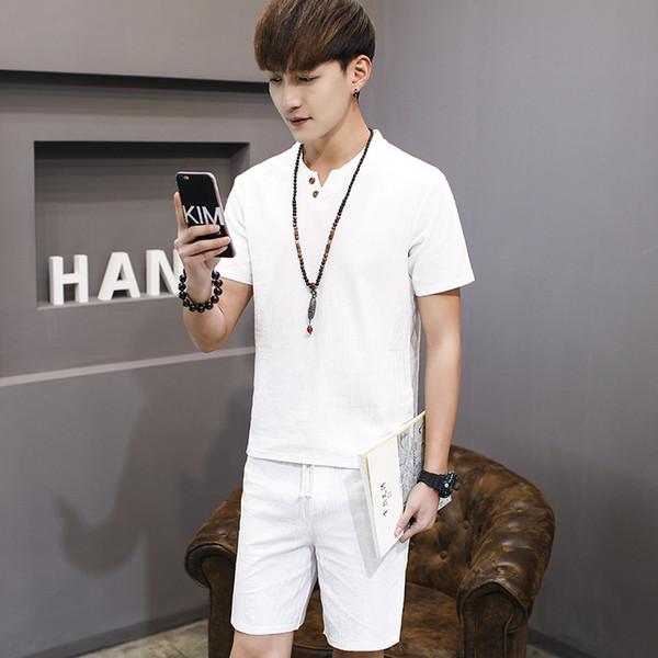 M-9XL Men's Sportswear Summer Sports Suit 2019 New Men Casual Cotton Linen Loose Plus Size Two Pieces Tracksuit Men High Quality