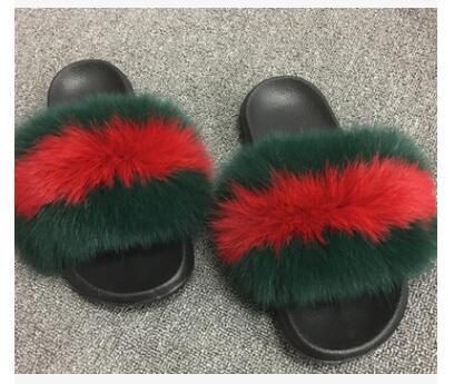 3892e464 Summer Women Fox Fur Slippers Real Fox Hair Slides Female Furry ...