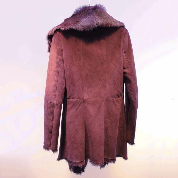 여성 정품 염소 가죽 가죽 리얼 모피 코트 양면 모피 두꺼운 따뜻한 여성 트렌치 고품질 슬림 코트