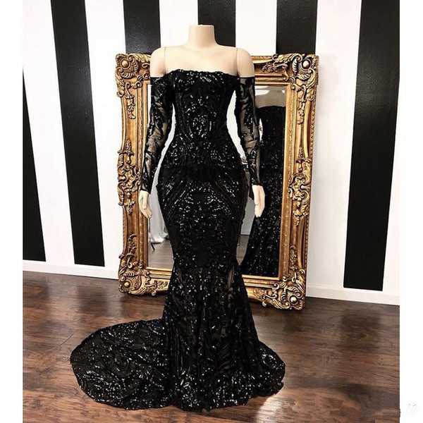 Vestidos Off The Shoulder Mermaid Prom Dresses 2019 New Black Long Sleeve Sweep Strain Sequined Formal Evening Dress Party Gowns