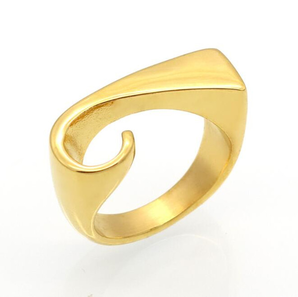 Free Shipping 316L Fashion Stainless Steel Twisted Ring Geometric Design Ring Unisex Surgical Steel Band Ring Gold Plated Jewelr