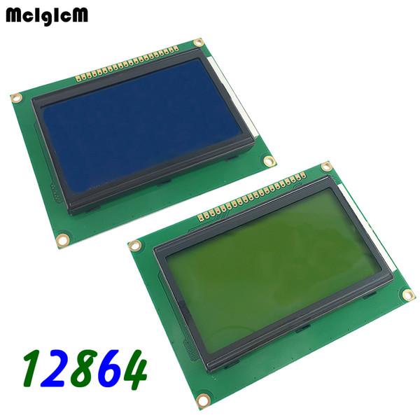 20 unids / lote 12864 128x64 Puntos Gráfico Azul / Amarillo Color Retroiluminación Pantalla LCD Módulo LCD12864