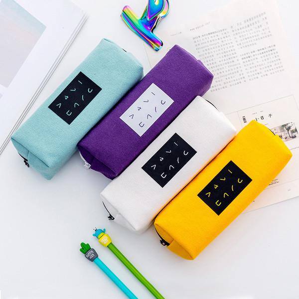 Suministros de papelería escolar Nueva moda Estuche de lápices Patrón de palabra simple Bolsa de lápiz Material de lienzo personal Cheaphk0018