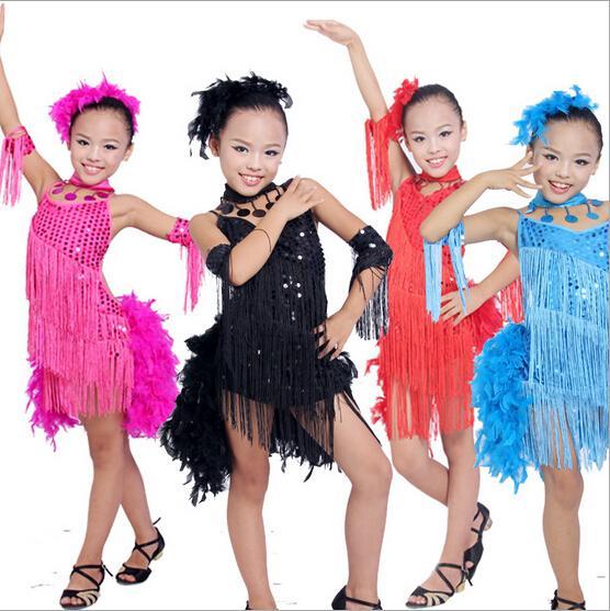Vendita calda di sconto della piuma del Sequin della frangia Dancewear latino vestiti da ballo in vendita bambini poco costosi dei capretti latini del vestito da ballo per le ragazze