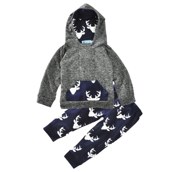 0-2T Baby elk hoody 2pc sets front pocket hoodies+deer printing pants infants boys girls autumn winter Christmas outfits M034