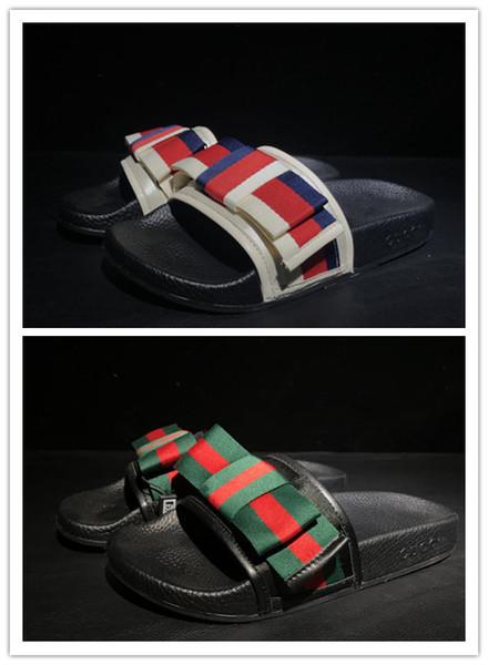 best selling Womens Designer Rubber slide sandal Floral brocade slippers Gear bottoms Flip Flops for women striped Beach causal slipper