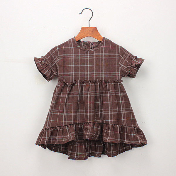 Everweekend Cute Kids Ragazze Plaid Ruffles Fly Sleeve Party Dress Colore bianco marrone Estate dolce abiti per bambini