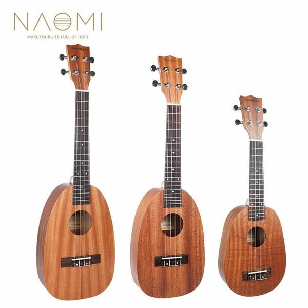 """top popular NAOMI 21'' 23"""" 26'' 4 Strings Pineapple Shaped Ukelele Uke Sapele Ukulele 2021"""